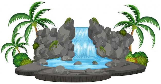 Een geïsoleerde natuurwaterval Premium Vector
