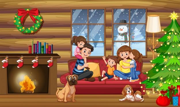 Een gelukkig gezin in huis met kerstmis Premium Vector
