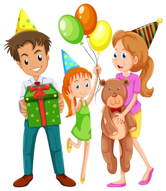 Een gelukkig gezin viert een verjaardag Gratis Vector