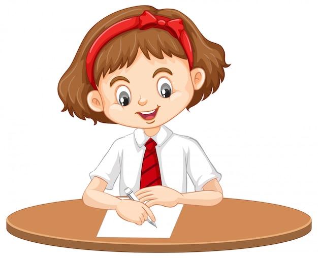Een gelukkig meisje dat op het bureau schrijft Gratis Vector