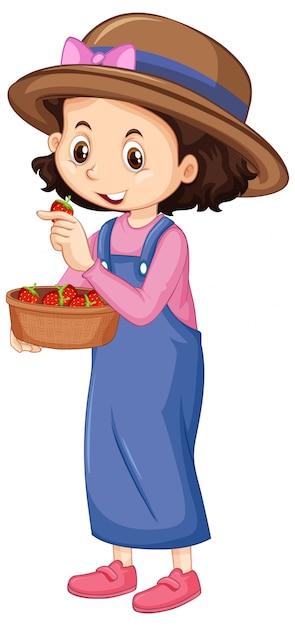 Een gelukkig meisje met aardbeien in kom Gratis Vector