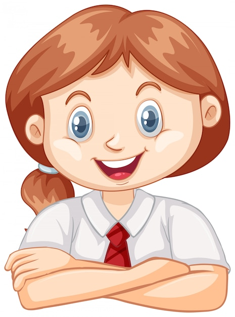Een gelukkig meisje op wit Gratis Vector