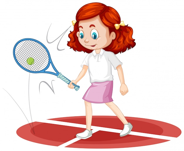 Een gelukkig meisje tennissen Gratis Vector