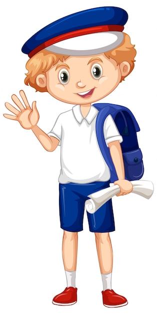 Een gelukkige jongen met blauwe rugzak Premium Vector