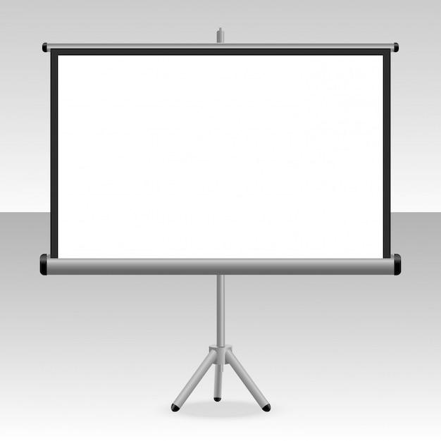 Een geprojecteerd scherm met een statief voor uw presentaties Premium Vector