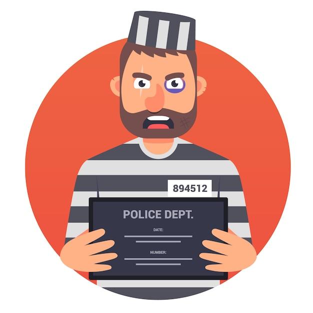 Een gevangene met een teken in zijn handenillustratie Premium Vector
