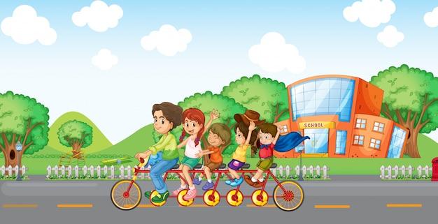 Een gezin dat reist met een familiefiets Premium Vector