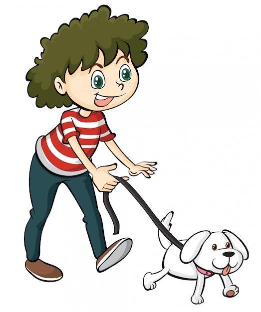 Een glimlachende jongen en een hond Gratis Vector