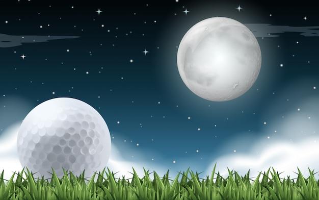 Een golfveld nacht Premium Vector