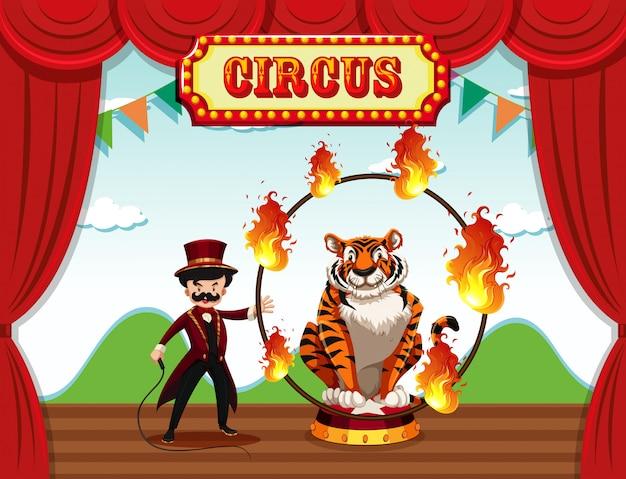 Een goochelaar speelt op het podium Gratis Vector