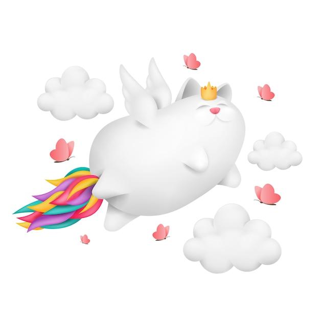 Een grappige eenhoornkat met het karakter van de regenboogstaart vliegt over de hemel. Premium Vector