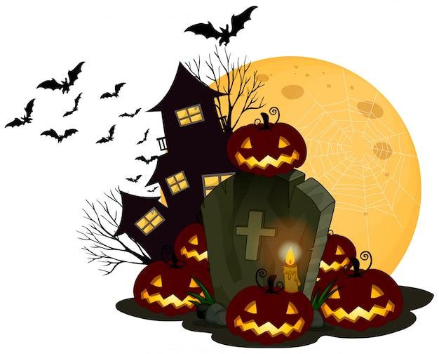 Halloween Thema.Een Griezelig Halloween Thema Op Witte Achtergrond Vector