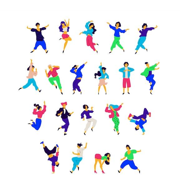 Een groep dansende mensen in verschillende poses en emoties. Premium Vector