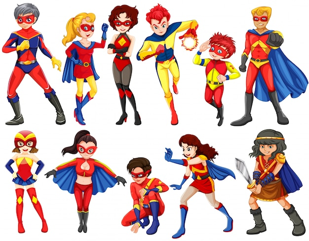 Een groep helden Gratis Vector