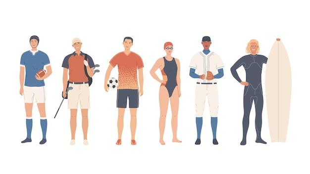 Een groep sporters. teamsporten en individuele sporten. Premium Vector