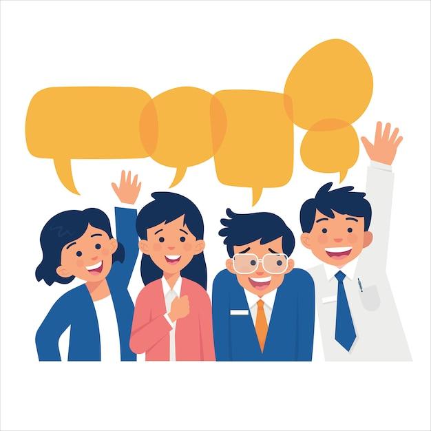 Een groep vol glimlachen en warm verwelkomende posities Premium Vector