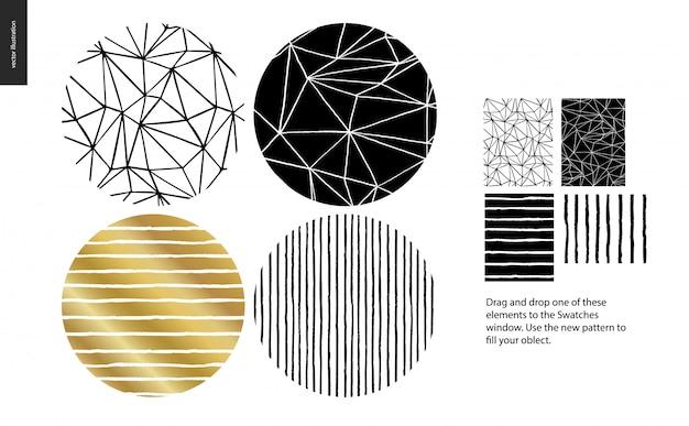 Een groepset van vier abstracte naadloze patroon Premium Vector