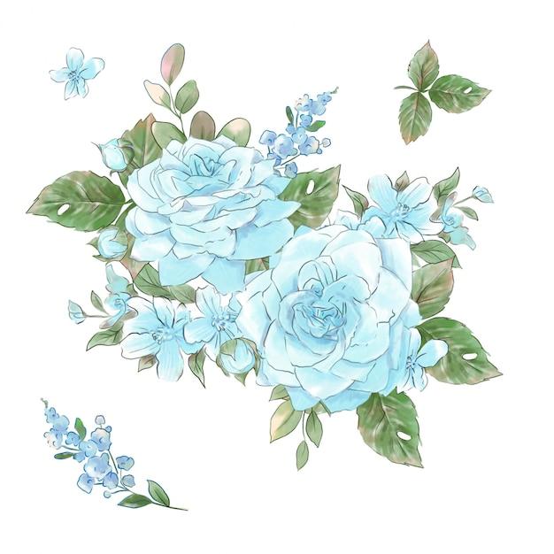 Een groot aantal aquarellen zachte rozen super kwaliteit. Premium Vector
