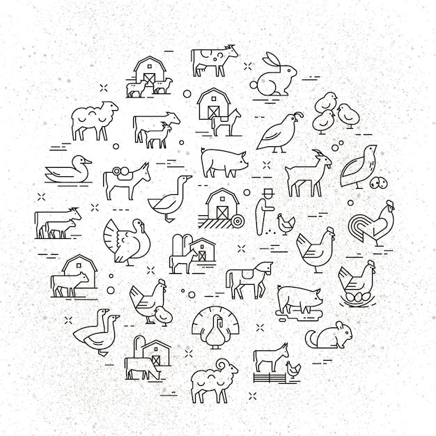 Een grote circulaire vector icon set van landelijke dieren in een lineaire stijl Premium Vector