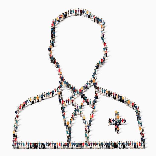 Een grote groep mensen in de vorm van een dokter, medicijn, icoon. Premium Vector