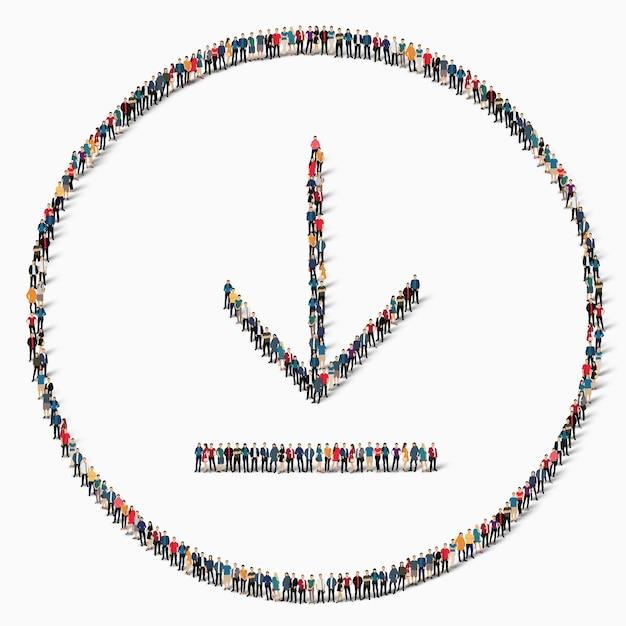 Een grote groep mensen in de vorm van een teken van laden, downloaden, pictogram. Premium Vector
