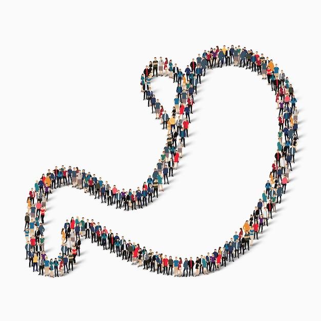 Een grote groep mensen in de vorm van maagmedicijnen. illustratie Premium Vector