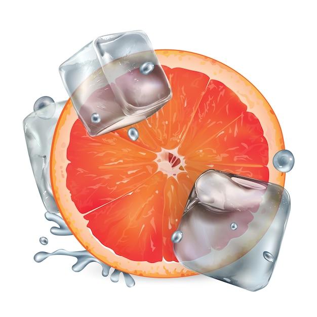 Een halve grapefruit met ijsblokjes en waterdruppeltjes Premium Vector