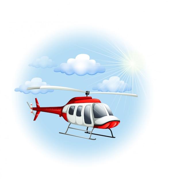 Een helikopter in de lucht Gratis Vector