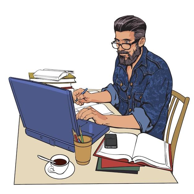 Een hipster man in een spijkerjasje zit aan een tafel. schrijver, journalist, geleerde, student schrijven zijn werk op de computer. werk op internet. op tafel, veel papierwerk. het studieproces Premium Vector