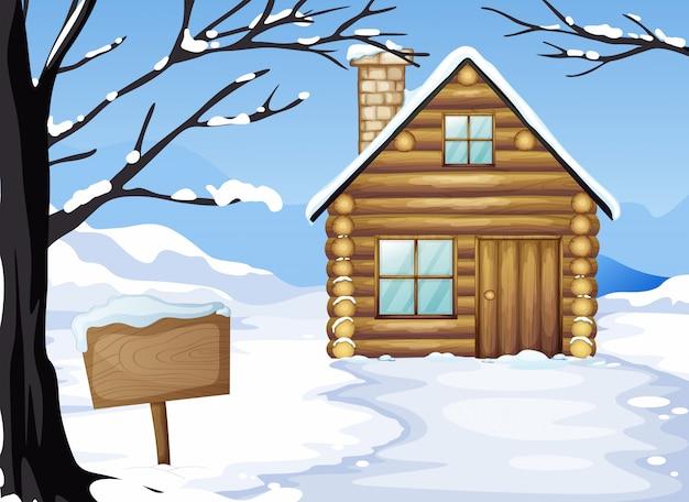 Een houten huis in de buurt van het lege bord Gratis Vector