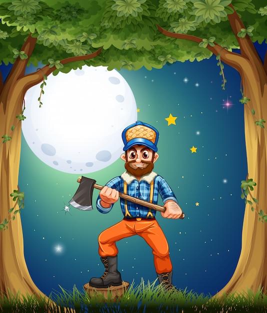 Een houthakker in het bos in het midden van de nacht Gratis Vector
