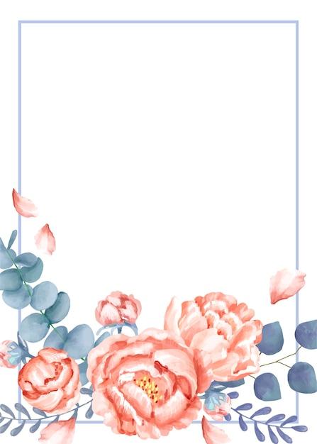 Een huwelijkskaart met bloementhema Gratis Vector