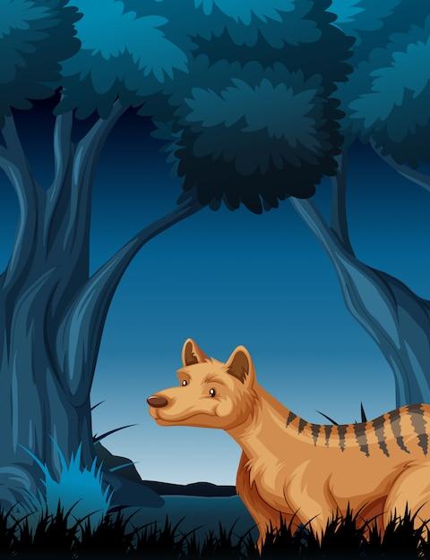 Een hyena in tropische regenwoudachtergrond Gratis Vector