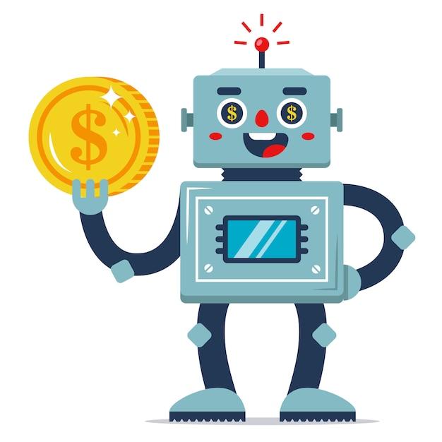 Een ijzeren robot houdt een munt in zijn hand. passief inkomen. geautomatiseerd werkprogramma. inkomsten op internet. platte vector karakter Premium Vector