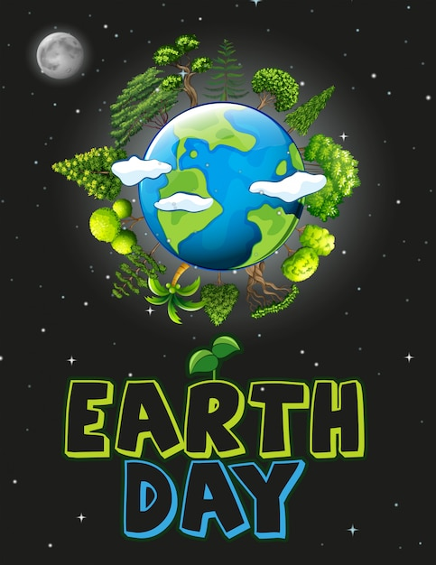Een illustratie van de aardedag Gratis Vector