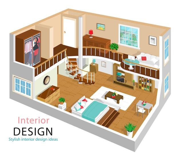 Een illustratie van een modern gedetailleerd isometrisch flatbinnenland. isometrische kamerinterieurs. huis met twee verdiepingen met trap. Premium Vector