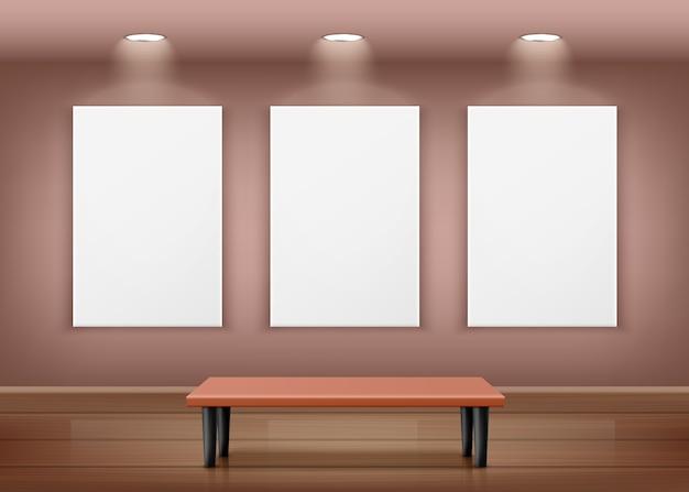 Een illustratie van het galerijinterieur met drie lege kaders aan de muur Premium Vector