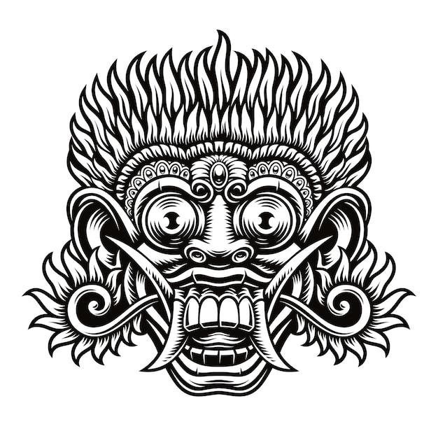 Een illustratie van traditionele indonesische masker barong. deze illustratie kan zowel als overhemdsafdruk als voor ander gebruik worden gebruikt. Premium Vector