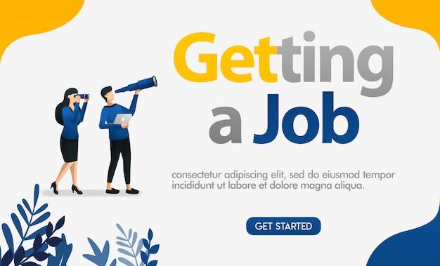 Een job-advertentie krijgen met afbeeldingen van mensen op zoek naar verrekijkers en telescopen Premium Vector