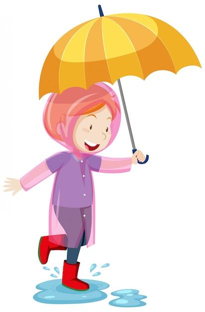 Een jong geitje dat een regenjas draagt en paraplu houdt en in geïsoleerde plassen cartoonstijl springt Gratis Vector