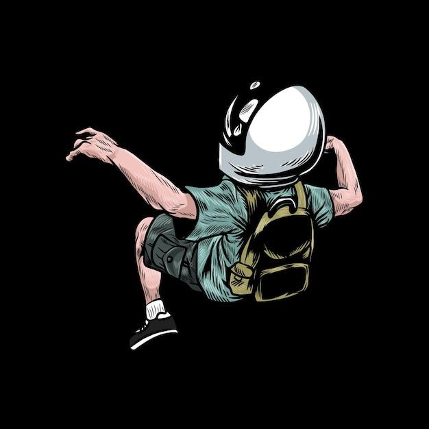 Een jonge astronaut zweeft Premium Vector