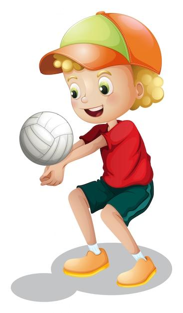 Een jonge jongen die volleybal speelt Gratis Vector