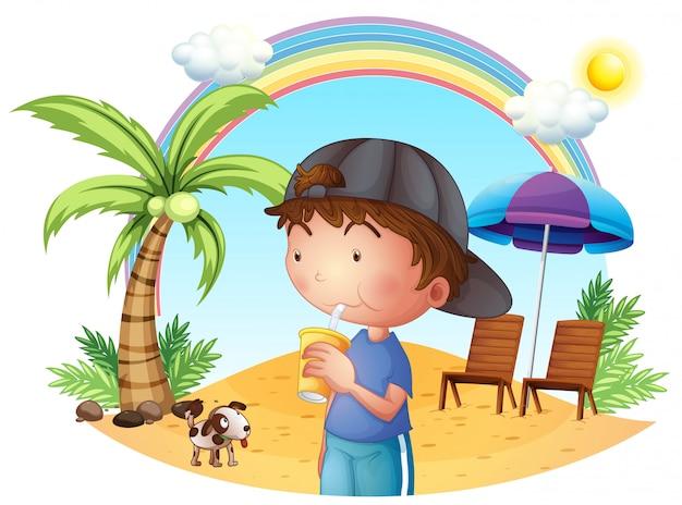 Een jonge jongen op het strand met zijn huisdier Premium Vector