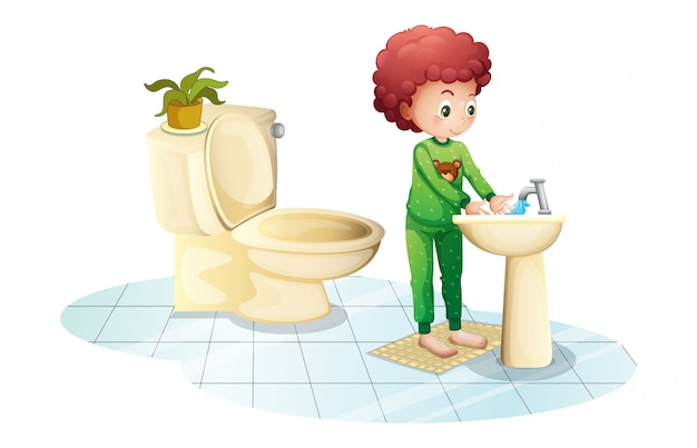 Een jonge man die zijn handen wast Gratis Vector