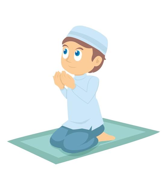Een jonge moslimjongen die bidt Premium Vector