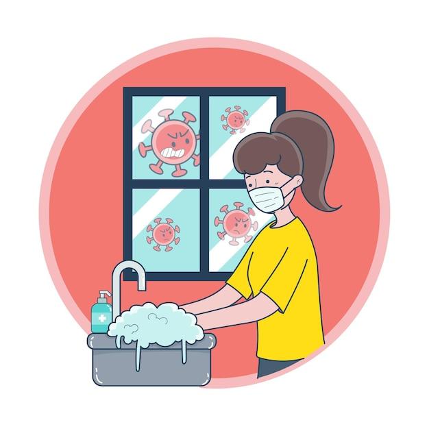Een jonge vrouw die een masker draagt en haar handen wast om ziektekiemen te voorkomen Gratis Vector