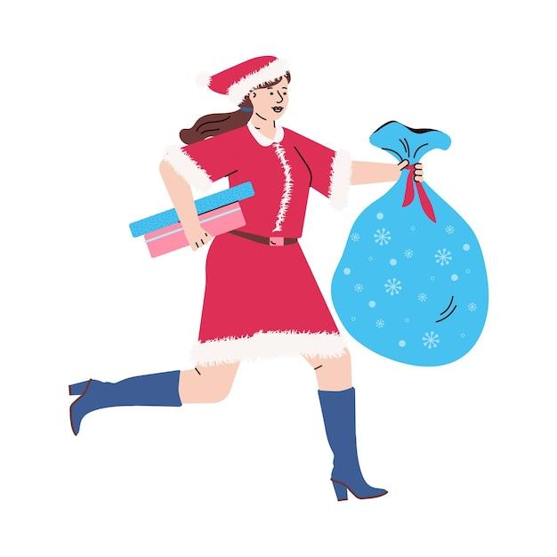 Een jonge vrouw in een rood kerstkostuum loopt met dozen Premium Vector