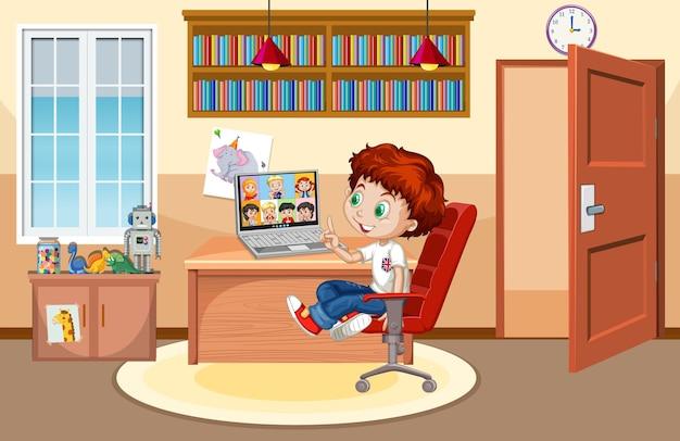 Een jongen communiceert thuis videoconferentie met vrienden Gratis Vector
