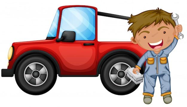 Een jongen die de rode jeep repareert Gratis Vector