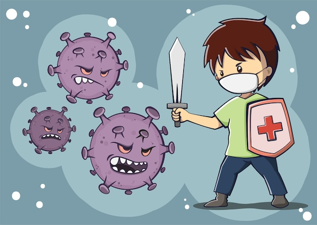 Een jongen die masker draagt die de illustratie van het coronavirus bestrijdt Premium Vector